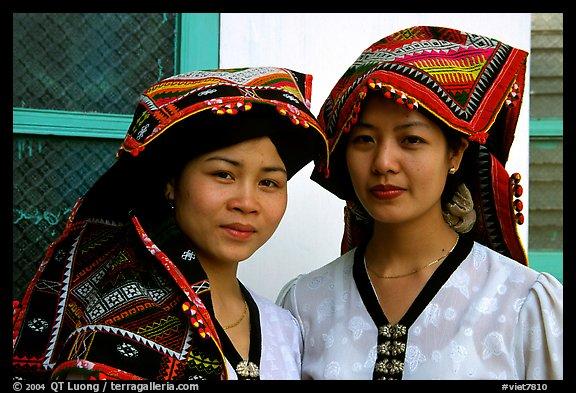 Two thai women in traditional dress, Son La. Vietnam