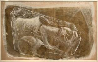 "GARGOYLES, 1948 (""Gargoiles"" in the artist's hand) Tempera on paper, 12.75 x 18 inches"