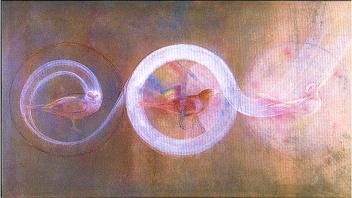 Waking, Walking, Singing in the Next Dimension, 1979, Watercolor and tempera, 40 by 30 inches