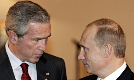 George W Bush looks into Putin's eyes